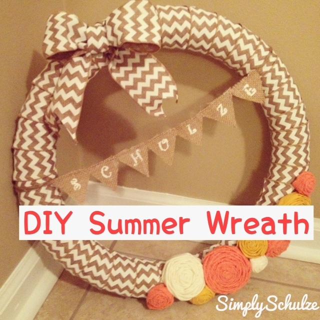 DIY Spring Chevron Wreath with Pennant Banner