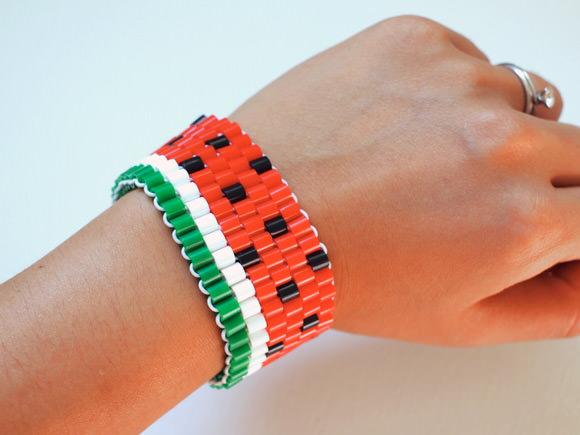 DIY watermelon bead bracelet