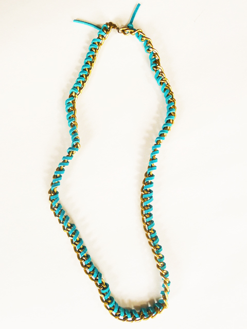 DIY suede wrapped chain necklace