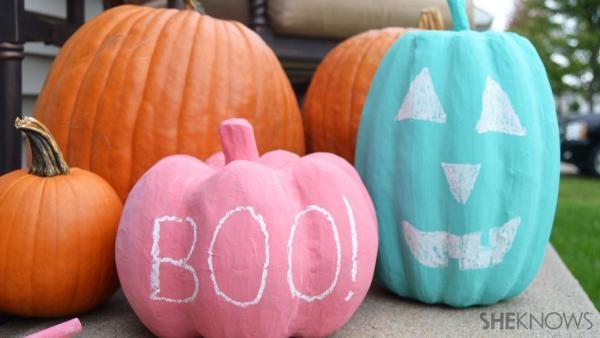Draw your own jack lanterns on fun chalkboard pumpkins