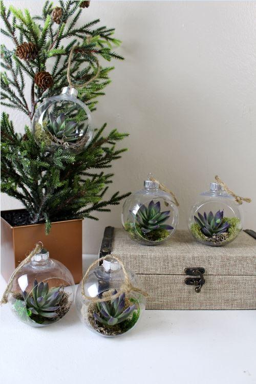 DIY Faux Succulent Ornaments