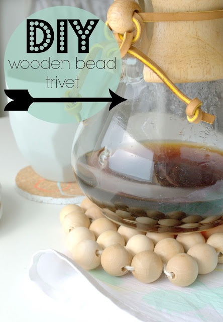 Hexagonal wooden bead trivet....