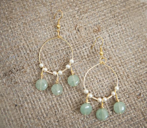 Make these lovely light jade green & gold chandelier earrings