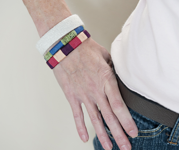 Believe it or not, these stylish bracelets are made from cardboard!