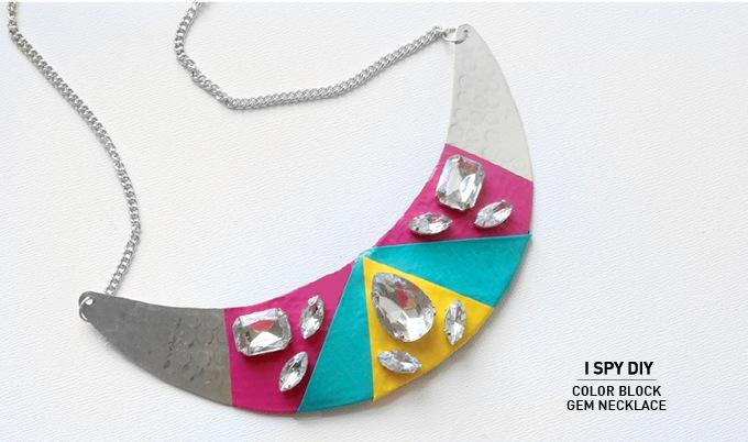 Color block gem necklace