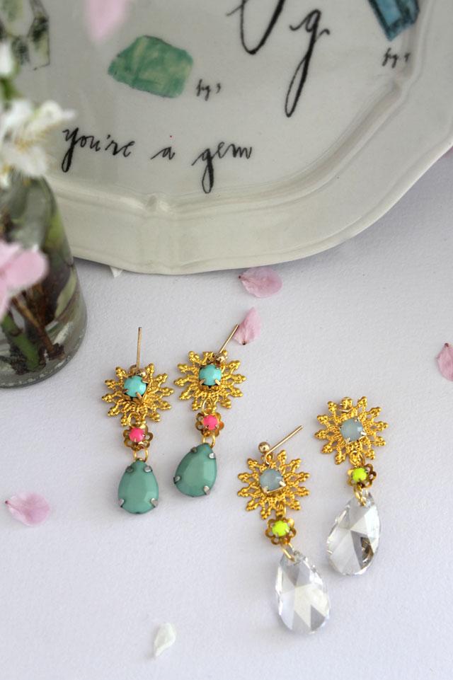 DIY - gold & jewel statement earrings