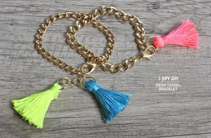 Neon tassel bracelets