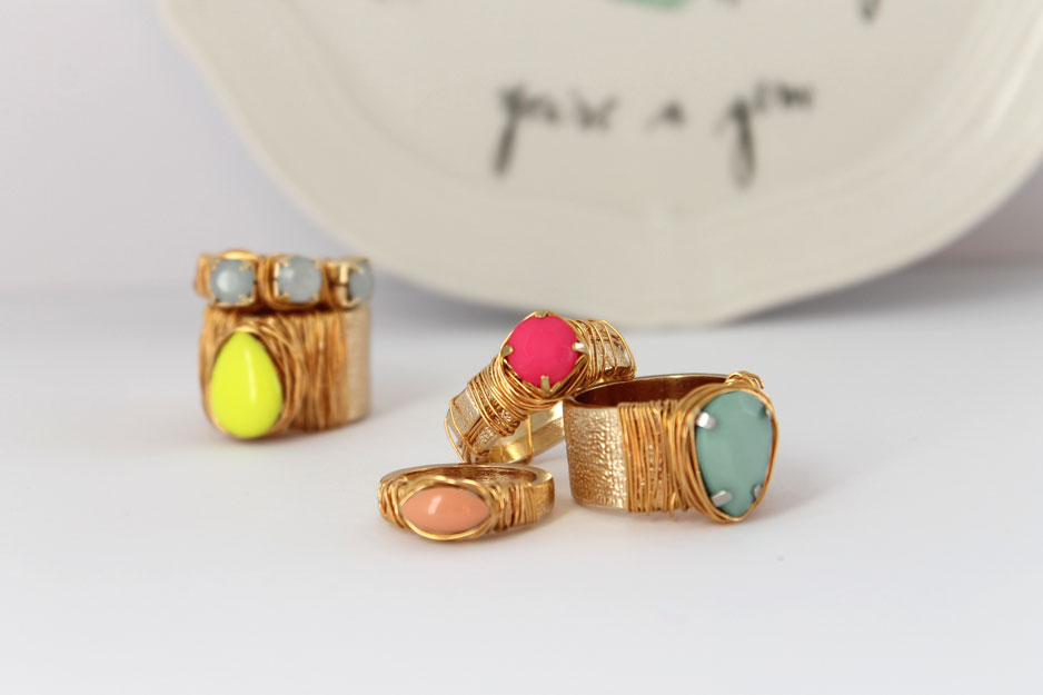 DIY _ jewel and wire wrapped statement ring