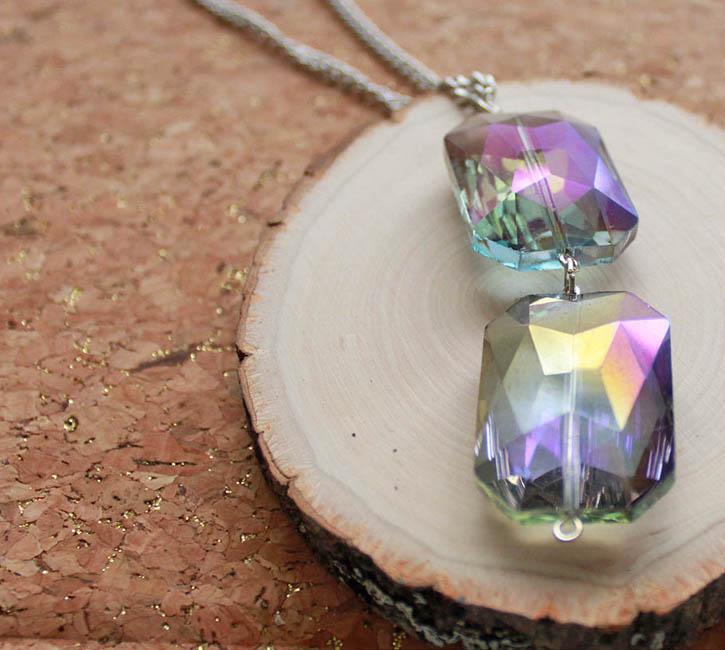 DIY faceted gem drop necklace