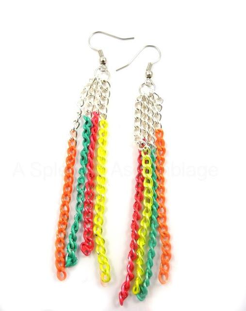 Diy: neon chain earrings