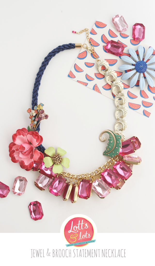 DIY - jewel and brooch statement necklace