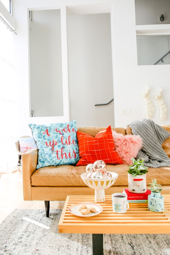 Ho Ho Home Getting Ready for the Holidays at Home with DIY Pillows + Cozy Textiles Paper and Stitch
