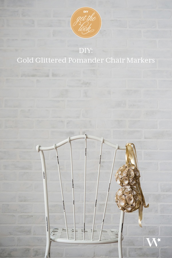 DIY Wedding Wednesday Gold Glittered Pomander Chair Markers