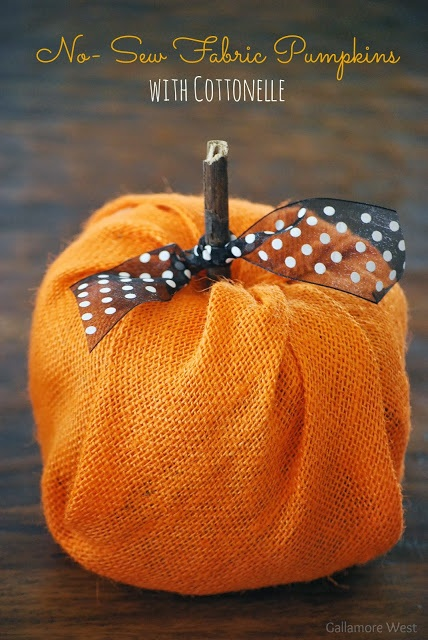 No Sew Fabric Pumpkins with #Cottonelle