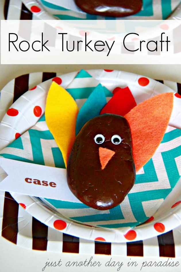 Just Another Day in Paradise Thanksgiving Rock Turkey Craft