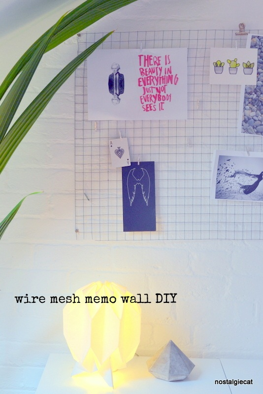 Wire mesh memo wall DIY