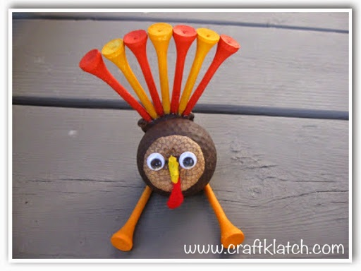 Golf Ball Turkey Craft for Thanksgiving