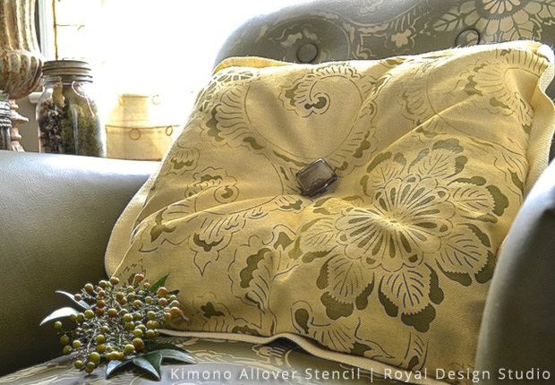 Stencil DIY Plain Fabric Pillow Goes Drab to Fab