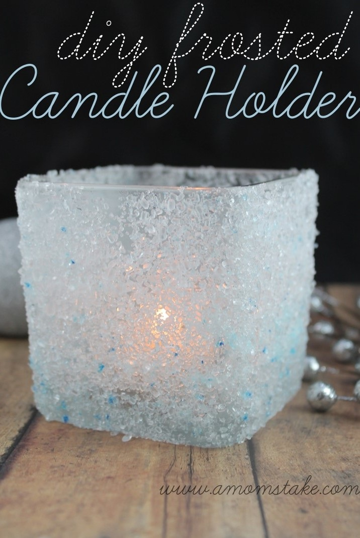 Easy Holiday Crafts DIY Frosted Candle Holder