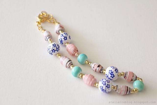Paper bead bracelet {diy}