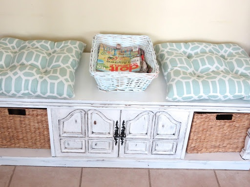 Charming bench storage from old coffee table
