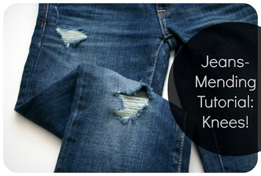 Tutorial update How to mend jeans when the holes are in the knees