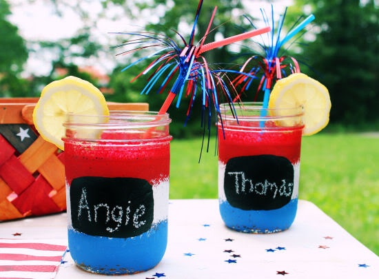 Red White and Blue Mason Jars