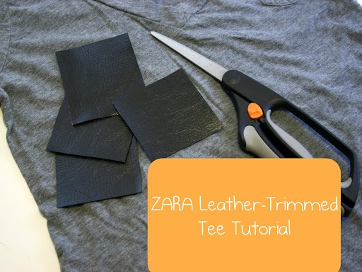Wahoo!!  Leather trimmed tee tutorial, totally easy.