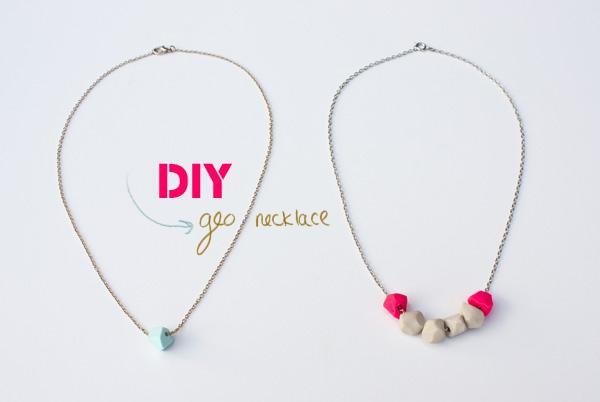 DIY clay geo necklace