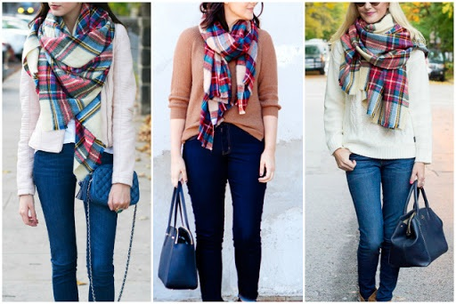 DIY ASOS plaid blanket scarf tutorial
