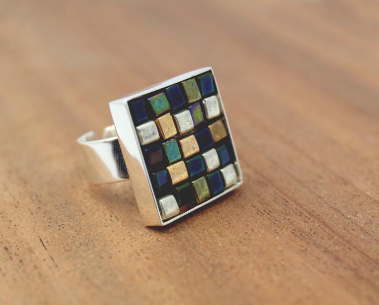 DIY _ glass bead mosaic ring