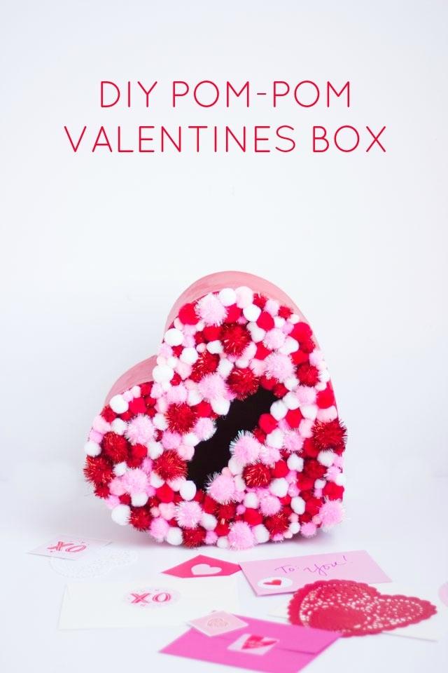 DIY Pom Pom Valentines Box
