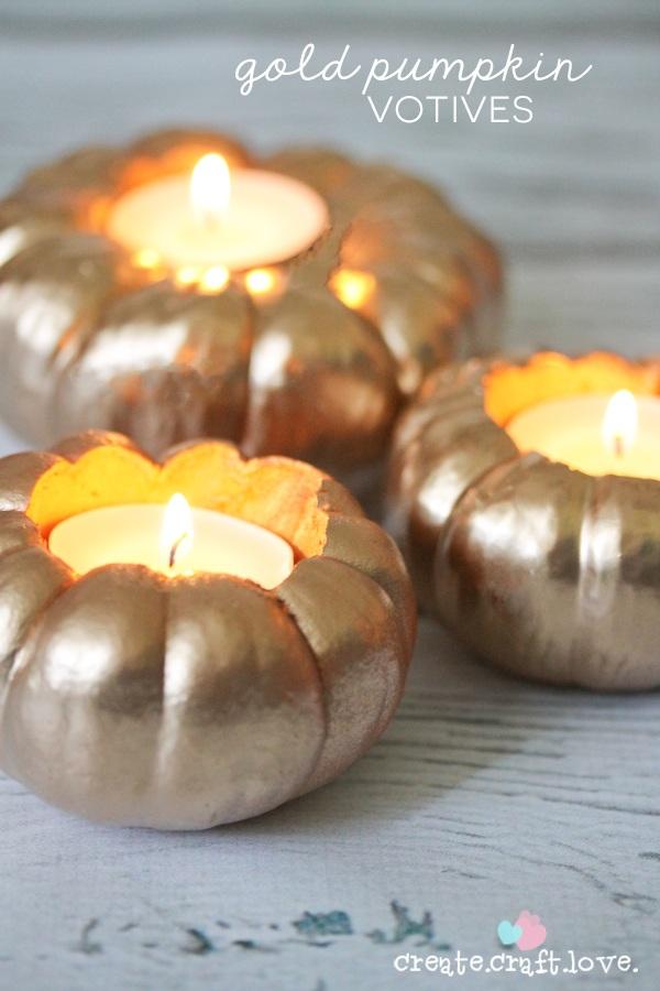 Gold Pumpkin Votives