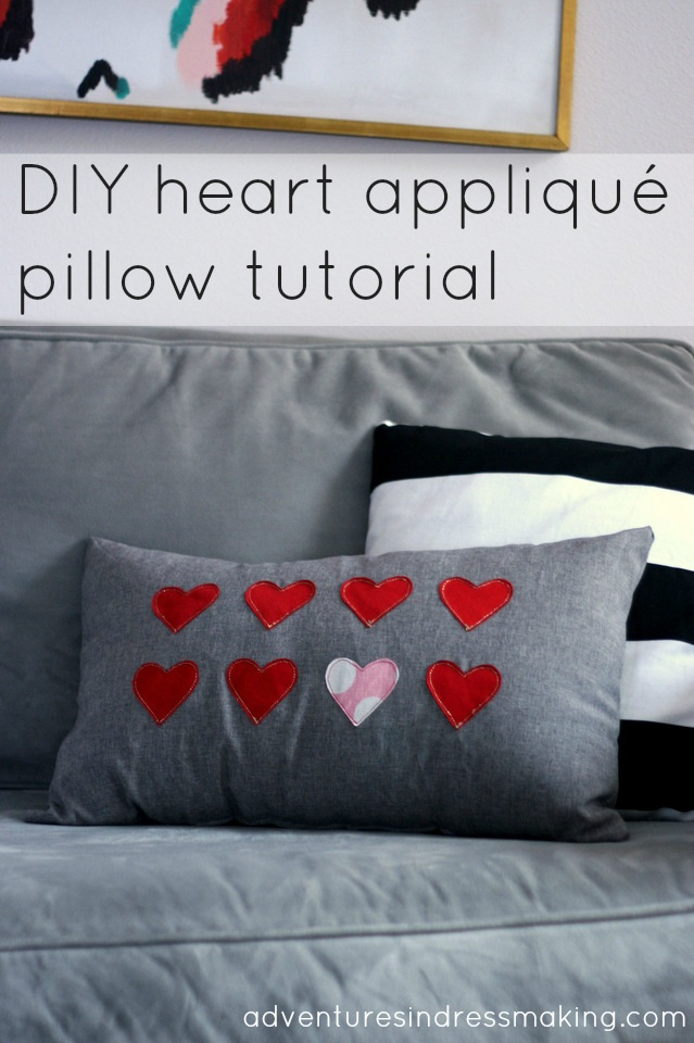 DIY heart applique pillow tutorial for Valentine's or any day!