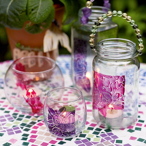 PAINTED GLASS CANDLE HOLDERS