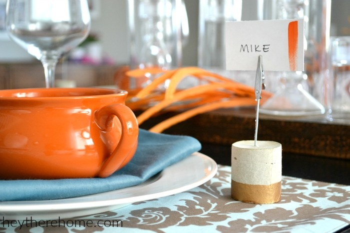 DIY Painted Concrete Place Card Holders