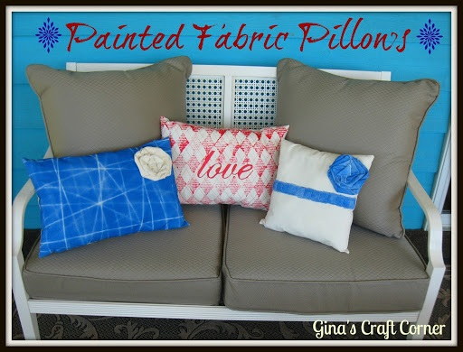 Painted Fabric Pillows Stamping How to (Post 1 of 2)