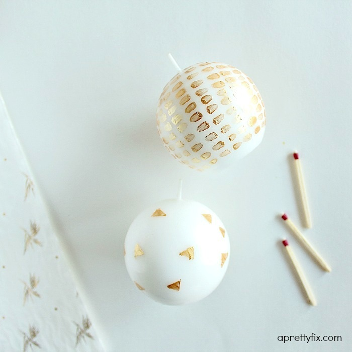 Chic and Crafty Hand Painted Candles