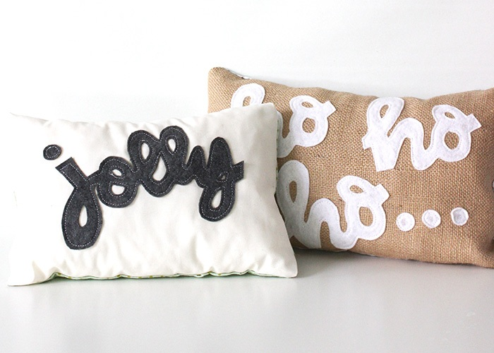 DIY No Sew Holiday Pillows