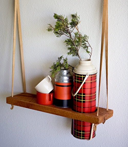 Diy project hanging vintage thermos display shelf