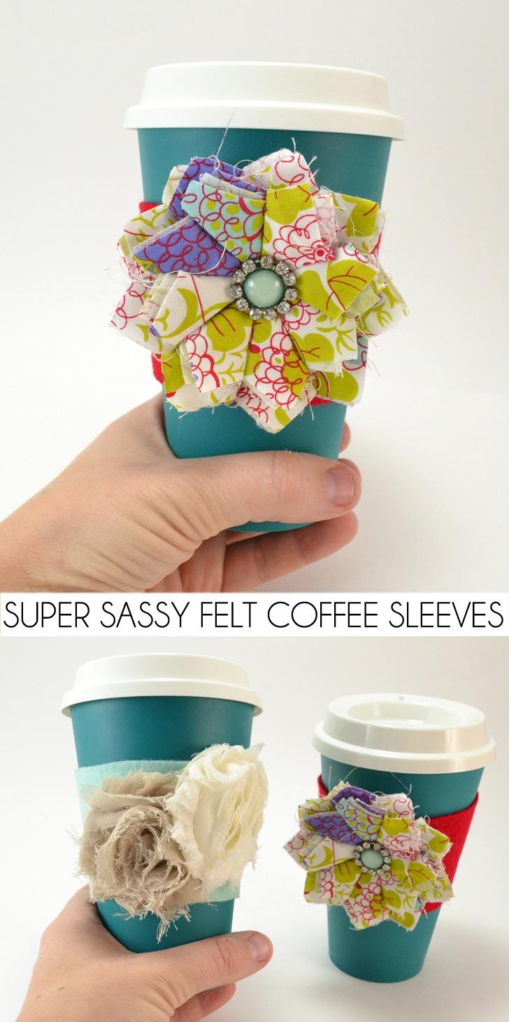 Super Sassy DIY Felt Coffee Sleeves