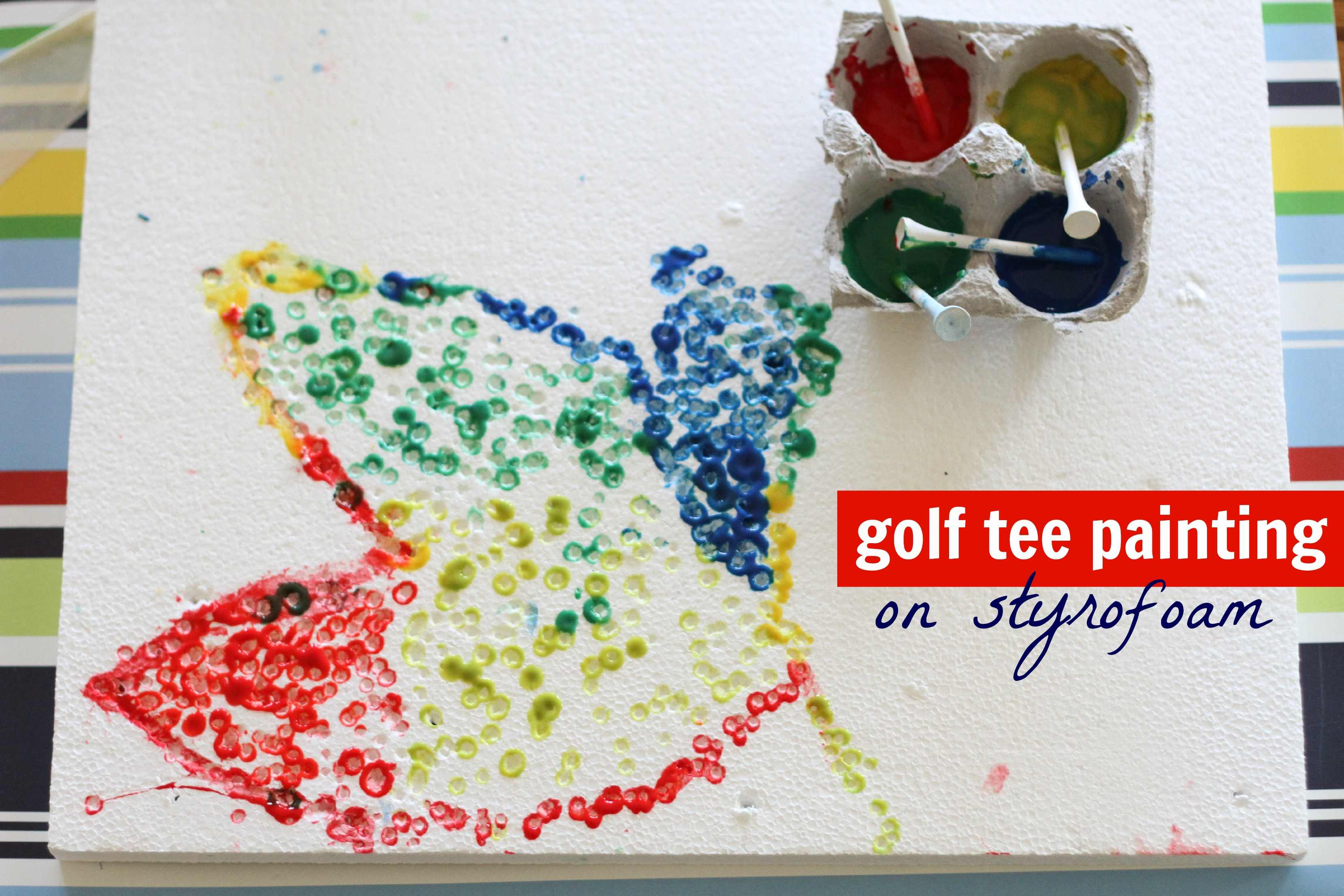 Golf Tee Painting on Styrofoam I Can Teach My Child!