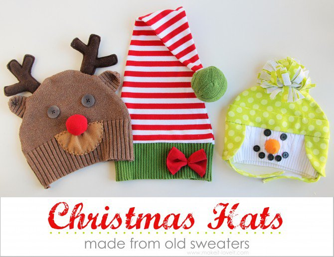 Snowman/Reindeer/Elf Christmas Hatsÿ..made from old sweaters
