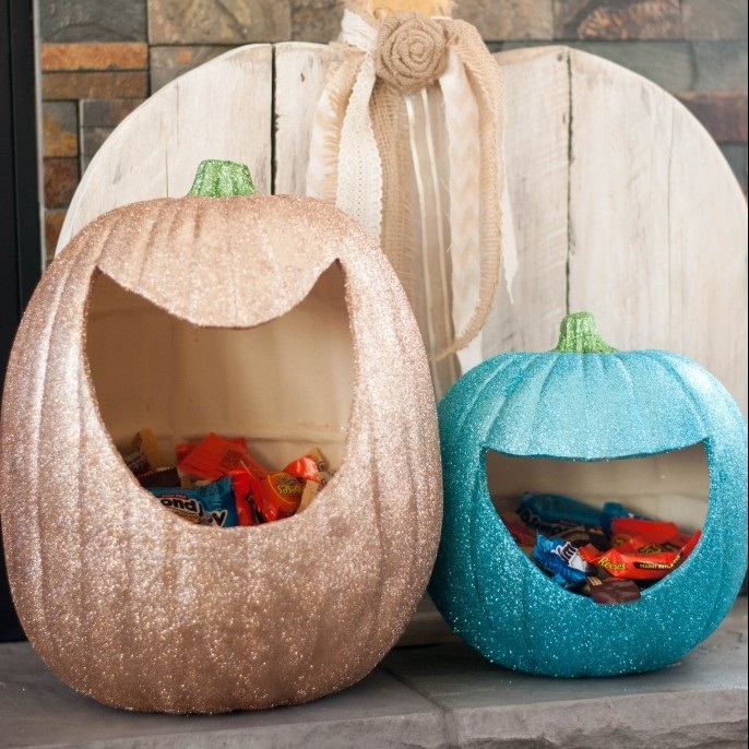 Glitter Pumpkin Candy Holders