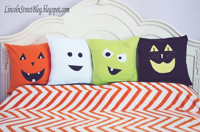 Flannel Halloween Face Pillows