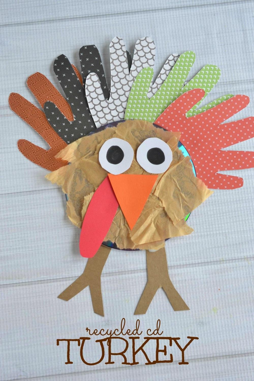 Recycled CD Turkey Kids Craft