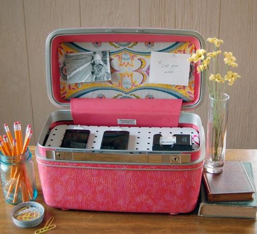 Diy project vintage suitcase charging station