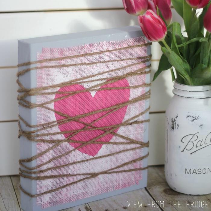 Painted Burlap Heart Plaque