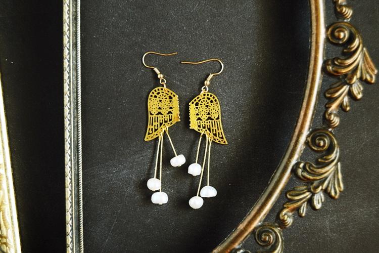 Handcrafted Earrings Gold Filigree Angel Wings