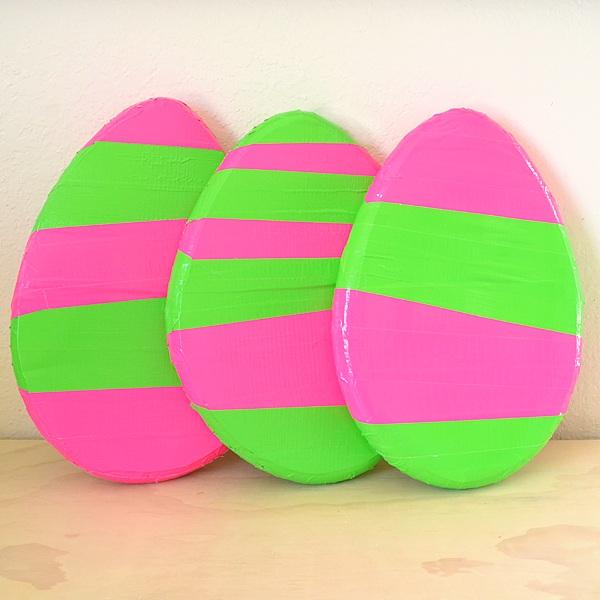 Giant Neon Duck Tape Easter Eggs